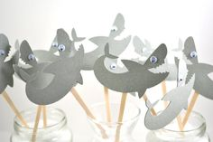 Shark Cupcake Toppers-Shark birthday Party-Shark Party Invitation-Shark Party Decor-Shark Cake Topper