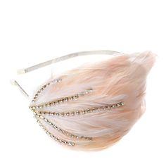 blush feather + crystal headpiece