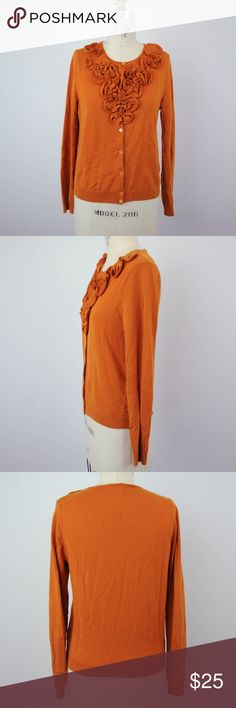 J Crew Sweater Cardigan M 100% Merino Wool Ruffles J Crew Womens Sweater Cardigan Sz M 100% Merino Wool Ruffles Orange N04 Description  Material: 100% merino wool Size: M  Measurements (in inches):  Armpit-to-armpit: 17 Length: 22 **All our products come from a clean and smoke-free household.** J. Crew Sweaters Cardigans