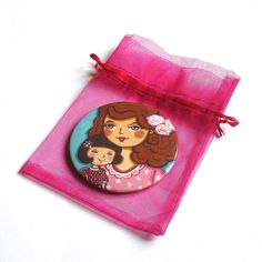 Mother and daughter pocket mirror Gifts for mom Hand mirror Mother and child Compact mirror Little girl purse mirror Girl birthday gift