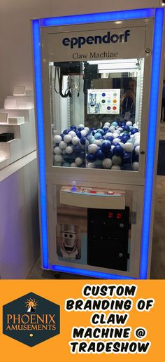 This claw machine is called the Prize Cube. Clean Sleek and takes up a small space in your tradeshow booth! Client worked with Prize Cube's white color in their graphics to truly make all pop! We programmed the LED lights to stay on blue so it coordina Wedding Reception Games, Wedding Ideas, All Pop, Claw Machine, Games Stop, Show Booth, Living Room Mirrors, Work Party, New Home Designs