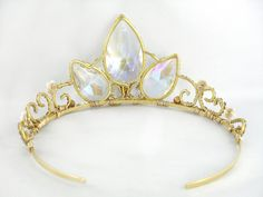 A Tangled Tiara  Rapunzel's Gold Crystal Crown Made by angelyques, $175.00