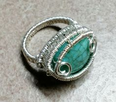 #169 Silver plated wire wrapped turquiose ring / επάργυρο δακτυλίδι με τυρκουάζ
