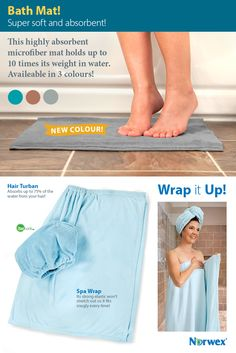 Norwex Bath Mat in graphite! Step out of the shower or bath onto the super-soft luxury of this highly absorbent microfiber mat, which holds up to 10 times its weight in water.
