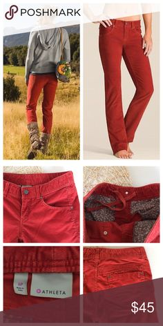 """Athleta Frontier Corduroy Pant Straight leg corduroy pants from Athleta in """"Red Spice"""" (rust orange/red color). 5-pocket design w/ bonus hidden zipper pocket on back right side, inside drawstring for adjustable fit, zip& button closure.  Sz 6 petite EUC- no notable flaws, barely any signs of wear  Inseam- 29.5"""" Waist approx- 15"""" Rise- 8"""" Full length (measured from hip to cuff) 38.5"""" Leg opening- 7.5"""" across flat  Reasonable offers considered  ❌no offsite transactions/trades Athleta Pants"""