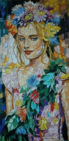Mosaic Portrait with lots of color it's really Lovely! But no mention or ref to the artist. can you help me credit correct artist ? Mosaic Crafts, Mosaic Projects, Mosaic Designs, Mosaic Patterns, Stained Glass Art, Mosaic Glass, Mosaic Portrait, Mosaic Artwork, Mosaic Pieces