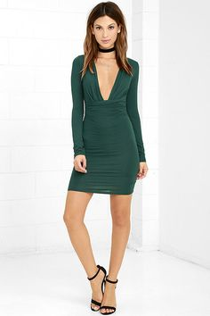 Lulus Exclusive! Give your curves the attention they deserve with the Curves Ahead Dark Green Bodycon Dress! Soft and stretchy jersey knit forms a plunging V-neckline framed by fitted long sleeves. Bodycon skirt features a ruched front panel for a figure-flattering finish.