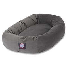 LOOK -  Majestic Pet 52 Gray Velvet Bagel Dog Bed