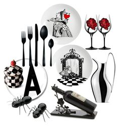 """""""Alice in Wonderland Dining"""" by incantare ❤ liked on Polyvore featuring interior, interiors, interior design, home, home decor, interior decorating, Design Letters, Eleanor Stuart, Georg Jensen and canvas"""