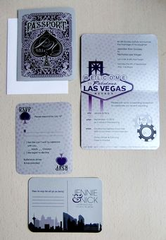 Las Vegas Destination Wedding Invitation Suite, Playing Card Inspired, Purple and Silver by Emily Edson Design