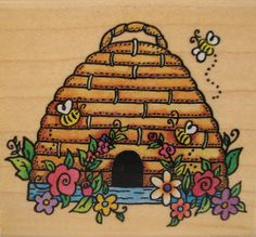 Floral Beehive Rubber Stampede A2139E Insect Bee Stamp #RubberStampede