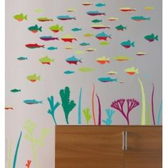 Fish wall decals, colorful coral reef wall decals