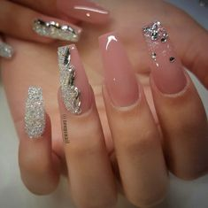 Check these out acrylic nails unghii uñas de gel, uñas nude ș Glam Nails, Bling Nails, Cute Nails, Pretty Nails, Bling Nail Art, Fabulous Nails, Gorgeous Nails, Perfect Nails, Cute Nail Designs
