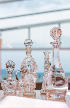 Vintage glassware - filled with bubble bath   via Sandra Russ Perry