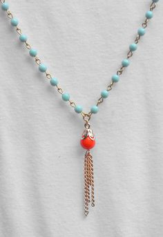 Long Gold Tassel Necklace in Turquoise and Coral