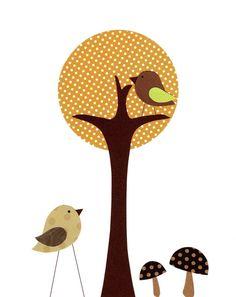 The Orange Polka Dot Tree - Nursery Art Baby Boy Nursery Kids Wall Art Neutral by vtdesigns, $14.00