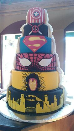 Half Marvel Cake, half wedding cake!