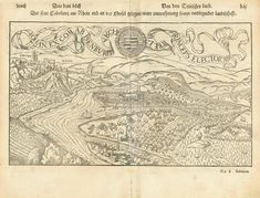 """""""Der statt Cobolentz am Rhein und an der Mosel gelegen ware contrafhetung sampt umbligender landtschafft"""" Woodcut Published in """"Cosmographia"""" by Sebastian Muenster (1488-1552) German edition. Basel, 1553 Decorative dedication ribbon above image is dated 1549. But this print was published in 1553. Reverse left side is title page. Right side: Descriptions of Koblenz, Andernach, Bonn and the beginning article about Cologne with a small woodcut: The Bridge across the Rhine at Cologne. Antique Maps, Antique Prints, Basel, Cologne, Living Room Designs, Vintage World Maps, Bridge, Germany, Ribbon"""