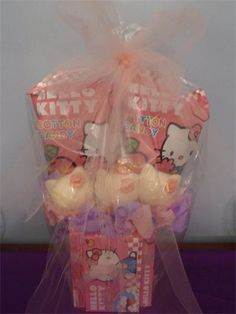 Hello Kitty Candy Bouquet 2012 $18.00 for 3 Chocolate Hello Kitty Pops with 4 boxes of candy and 2 cotton candy bags