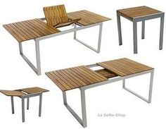 Gartentisch Ausziehtisch Naxos 2 Größen Tisch Ausziehbar Akazienholz/ Aluminium