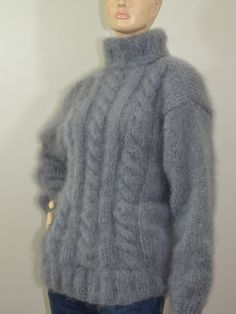 This sweater is knitted with customers Katia Ingenua mohair yarn . Can be made with my yarn. Hand Knitted Sweaters, Women's Sweaters, Red T, Mohair Yarn, Grey Sweater, Hand Knitting, Knitwear, Fur Coat, Turtle Neck