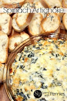 The Best Spinach Artichoke Dip recipe! This is not only easy, but it& one of the best baked dips I& made! It& always a huge hit! Best Spinach Artichoke Dip, Hot Spinach Dip, Marinated Artichoke Dip Recipe, Recipe For Spinach Dip, Artichoke Dip Recipes, Baked Spinach Dip, Spinach Cheese Dip, Cheese Dips, Chopped Spinach