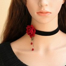 black and red flower crystal necklace jewelry acessorios colares bijuterias womens necklace fashion 2015
