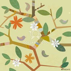 vector seamless pattern with birds on branches and flowers