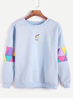 Pale Blue Patchwork Print Sweatshirt — 0.00 € -------------------color: Blue size: L,M,XL,XXL