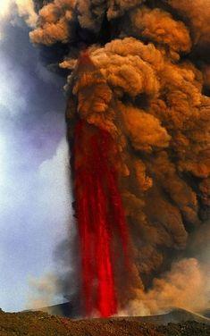Lava fountain of Mt Etna volcano, Sicily