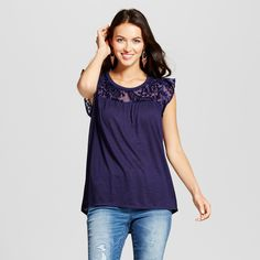 Women's Velvet Burnout Flutter Sleeve Top - Knox Rose Navy Xxl, Blue