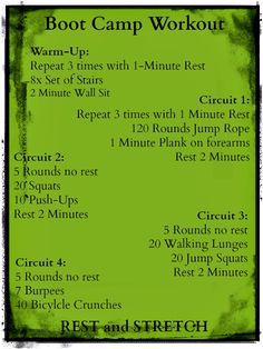 Boot Camp Workout.