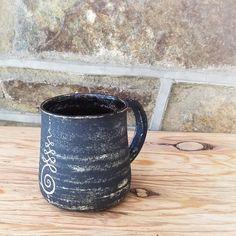 Rustic Matte Black and White Onalome Symbol Stoneware Mug - Handmade Functional Art - OOAK - Muddy Raven Symboliclay Ceramics