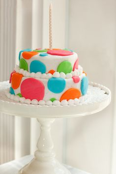 polka dot first birthday cake