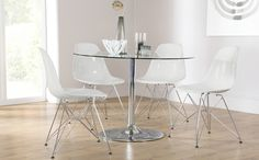 Orbit Round Glass & Chrome Dining Table and 4 DSR Chairs Set (Helix White)