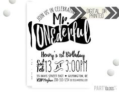 Mr. ONEderful Party Invitation | Digital or Printed | Mister Onederful Invitation | Mr. Wonderful Invitation |  Onederful Invite | Bow Tie