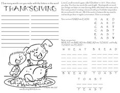 plenty of thanksgiving activity pages to keep the kids busy while the grown-ups finish dinner/chat