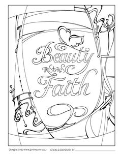 downloadable Beauty Restores Faith coloring page © Joanne Fink