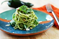 Espagueti Verde o al chile poblano