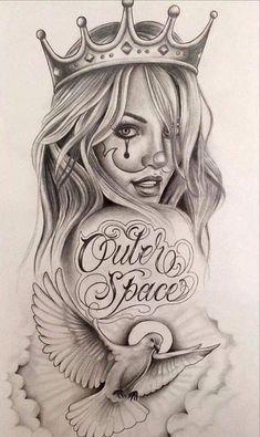 Chicano Tattoos Sleeve, Best Sleeve Tattoos, Chicano Drawings, Chicano Art, Skull Girl Tattoo, Girl Tattoos, Aztec Drawing, Gangster Tattoos, Lowrider Art