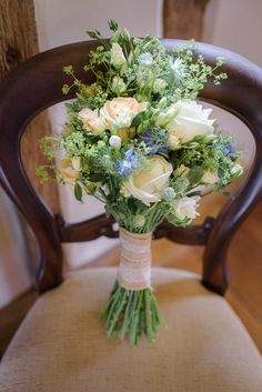 White Rose Bouquet Ivory Hessian Bride Flowers Bridal Blue Natural Wild Pretty Natural Rustic Woodland Wedding http://riamishaal.com/