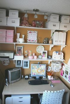 IKEA desk minus hutch with open shelving above