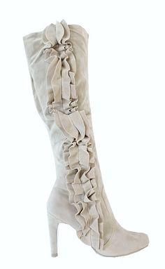 white ruffled boot