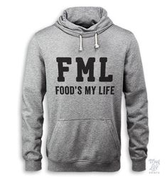 FML, food's my life! *Due to shortage, sweaters may be fulfilled on an Alternative Apparel Pullover Hoodie (see photos for example) Digitally printed on 90% Cotton 10%Polyester for a soft and comforta
