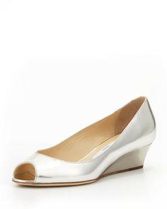 Jimmy Choo Bergen Peep-Toe Metallic Wedge, Silver on shopstyle.com
