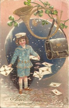 Vintage New Year Postcard 1910