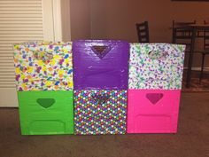 Turn old milk crates into toy storage. Cover inside and out with brightly colored duct tape ; Milk Crate Storage, Toy Storage Bins, Milk Crates, Diy Storage, Bathroom Countertop Storage, Diy Home Furniture, Plastic Crates, Teen Decor, Kids Room Organization