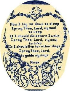 Alice Brooks 7137 Now I Lay Me Down to Sleep for a Picture or quilt top. A 1950s hand embroidery pattern.