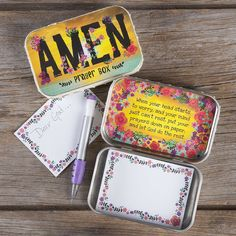 Prayer Boxes - Always a favorite, Prayer Boxes help keep prayers close by. Colorful trim, designs and positive sentiments outside and a message of inspiration inside. Comes with a pad and tiny mechanical pencil to write personal prayers.