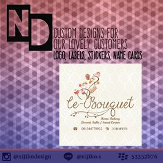 Custom designs made just for you!  Designs such as: Logo, brochure, pamphlets, flyer, name card, label, hangtag,   invitation, and many more.  contact via email for more information and fees. Low cost guaranteed!  nijikosu@gmail.com  or whatsapp me : +6283183288995